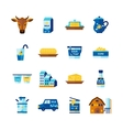 Milk Dairy Products Flat Icons Set vector image