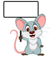 mouse cartoon posing with blank sign vector image vector image