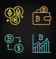 neon cryptocurrency icon set in line style vector image vector image