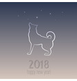 new year card with a dog - symbol 2018 vector image vector image