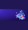 online gift review isometric 3d banner header vector image vector image