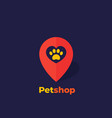 paw and heart in mark pet shop logo vector image vector image