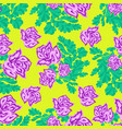 pink roses on a yellow background seamless pattern vector image