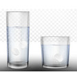 realistic effervescent tablets in glass of water vector image