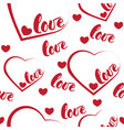 romantic red love and heart pattern background vector image vector image