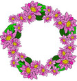 round wreath with pink water lotus and green vector image