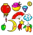 set chinese new year stickers pins patches in vector image
