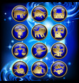 set glossy round zodiac icons with gold linear vector image