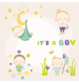 set of baby boy - for baby shower or arrival card vector image vector image