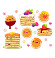 set of cute pancake icons in kawaii style vector image