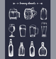 set of vintage brewery elements collection vector image vector image