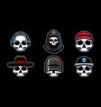 set skull head mascot vector image