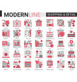 shopping retail red black complex flat line icon vector image