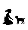 silhouette girl sitting knees beckon dog vector image