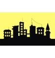 Silhouette of city on yellow background vector image vector image