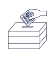 silhouette with vote hand urn vector image