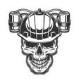 skull in beer helmet vector image vector image