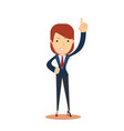 smiley businesswoman pointing up vector image