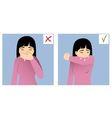 Two images with girl sneezing in hand and elbow vector image vector image