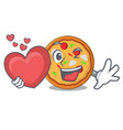 with heart pizza mascot cartoon style vector image vector image