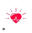 Heart beat icon with cheering rays vector image