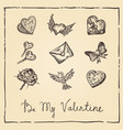retro ink valentine card on parchment vector image