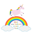 Rainbow and cloud in the sky Cute unicorn Make vector image