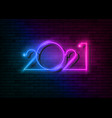 2021 new year glowing colorful neon signboard vector image
