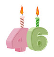46 years birthday number with festive candle for vector image