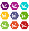 air post delivery icons set 9 vector image