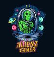 alien riding ufo as gamer e-sport logo or t-shirt vector image vector image