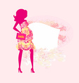 Beautiful pregnant woman on shopping for her new vector image