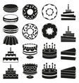 black and white 18 dessert icon silhouette set vector image vector image