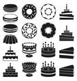 black and white 18 dessert icon silhouette set vector image