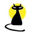 Black cat isolated on white background vector image vector image