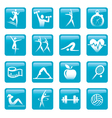 Blue Fitness icons buttons vector image vector image