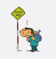 boy waiting for the school bus vector image vector image