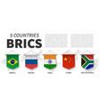 brics association 5 countries 3d realistic vector image vector image