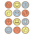 bright badges with internet icons vector image