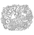 camp hand drawn cartoon doodles vector image