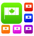 canada flag with flagpole set color collection vector image vector image