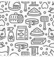 cat and veterinary pet accessories outline icons vector image vector image