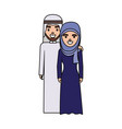 cute arab couple cartoon vector image vector image