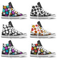 design collection realistic sneakers mock up vector image vector image