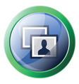 facebook photos sign inside a round green frame vector image vector image