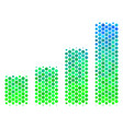 halftone blue-green bar chart icon vector image vector image