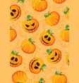 halloween pumpkin seamless pattern on orange vector image