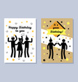 happy birthday to you two color festive banners vector image vector image