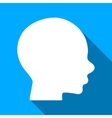 Head Profile Flat Long Shadow Square Icon vector image