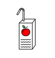 juice box with red apple and straw line symbol vector image